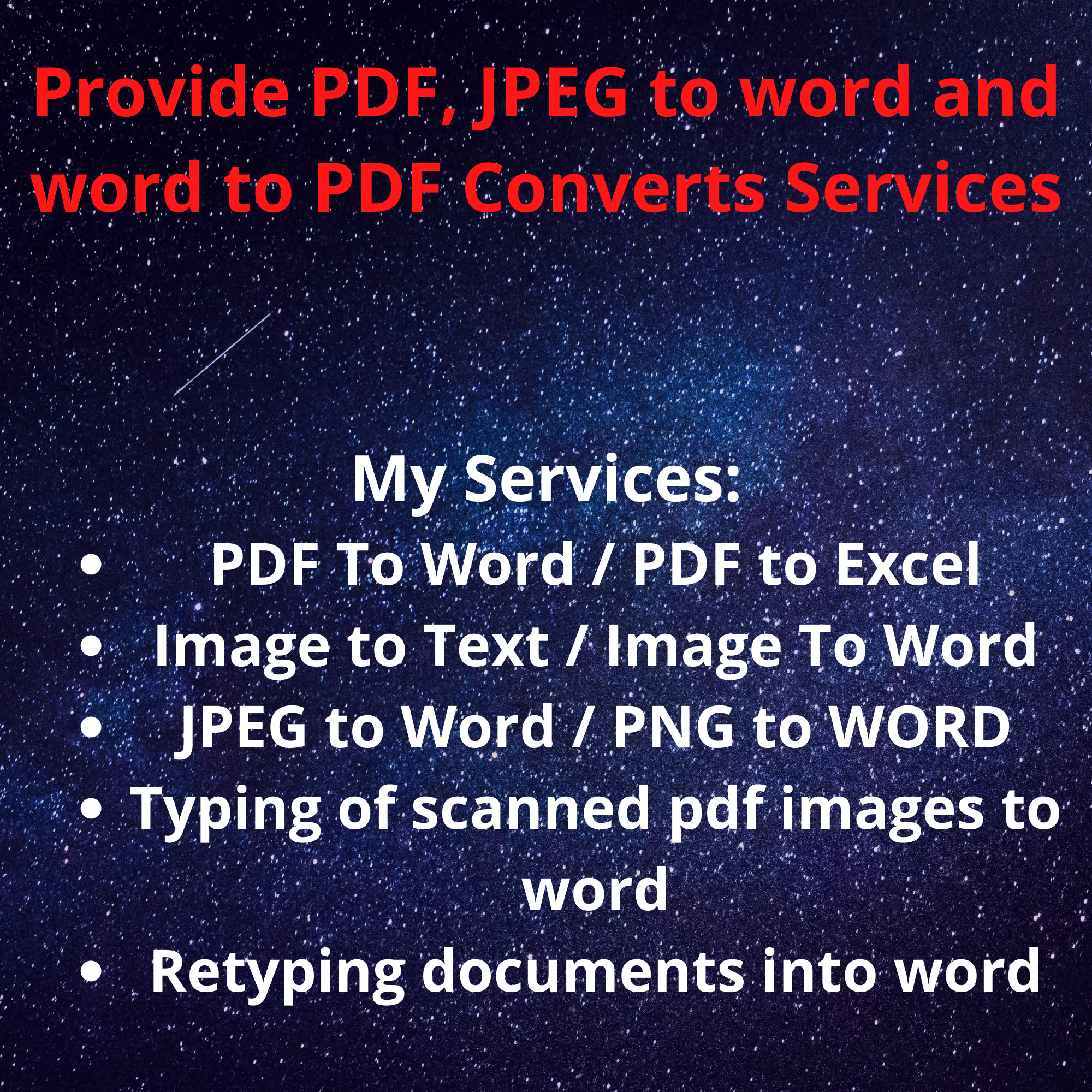 I will provide PDF,  JPEG to word and word to PDF Converts Services