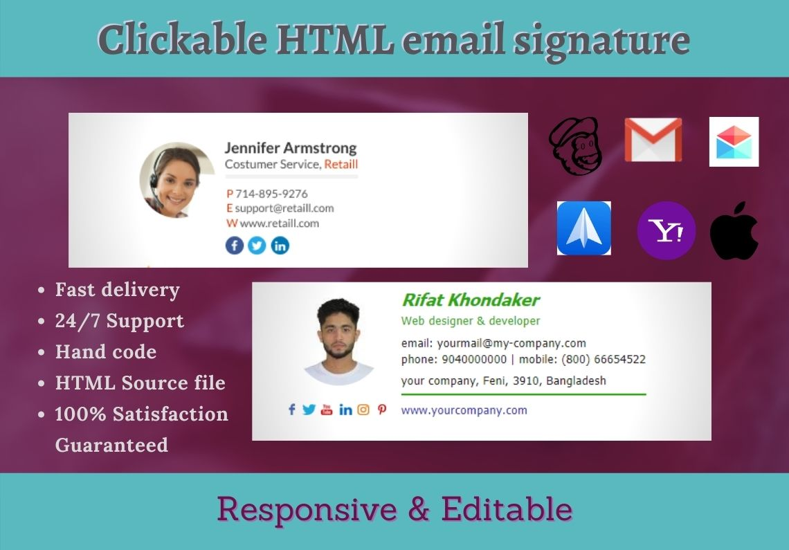 I will create clickable and professional HTML EMAIL SIGNATURE for yourself or your business.