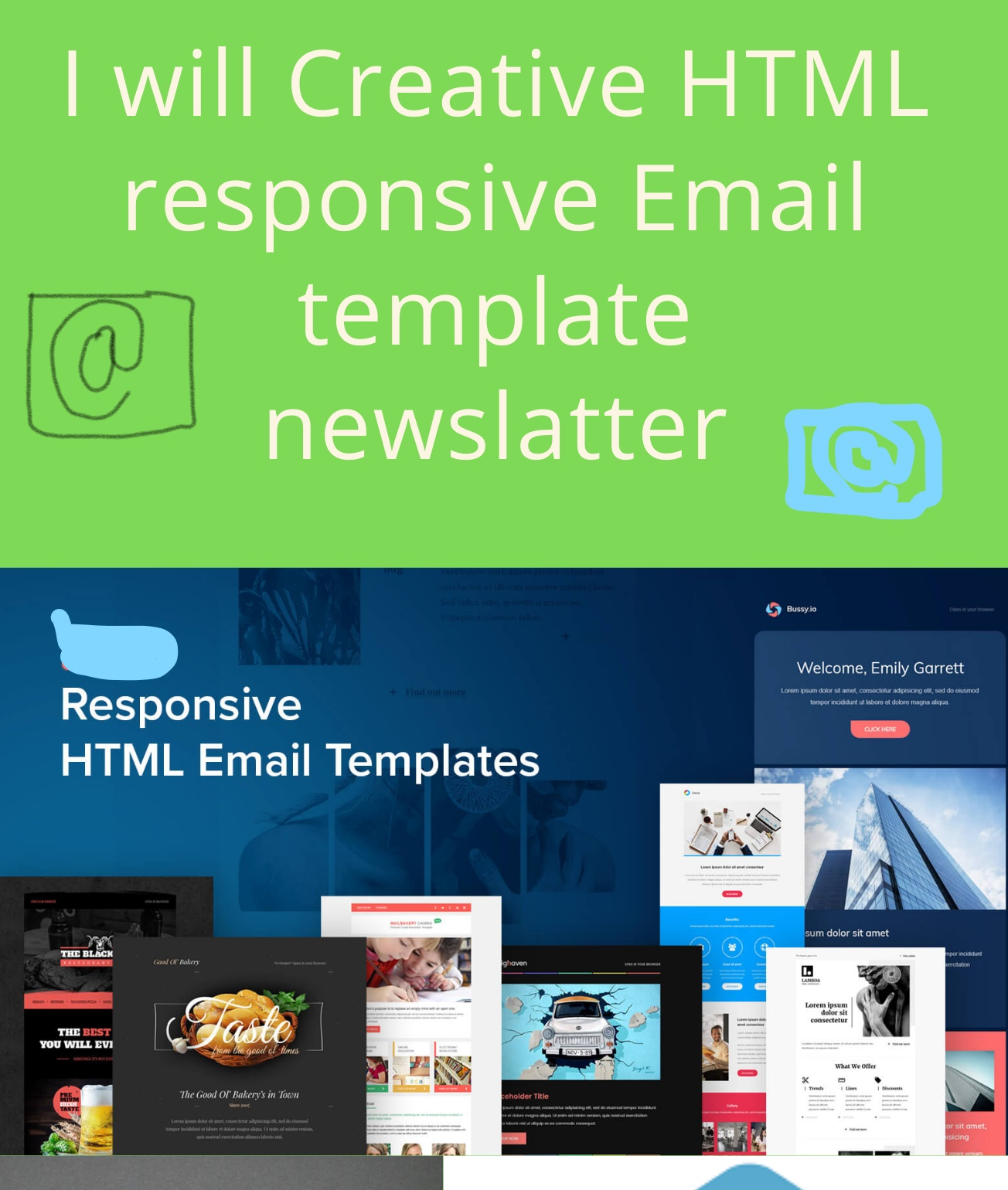 I Will HTML responsive Email template Newsletter.