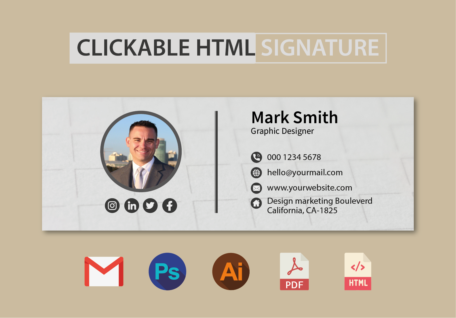 I will create a Professionally design clickable HTML email signature in just 12 hours