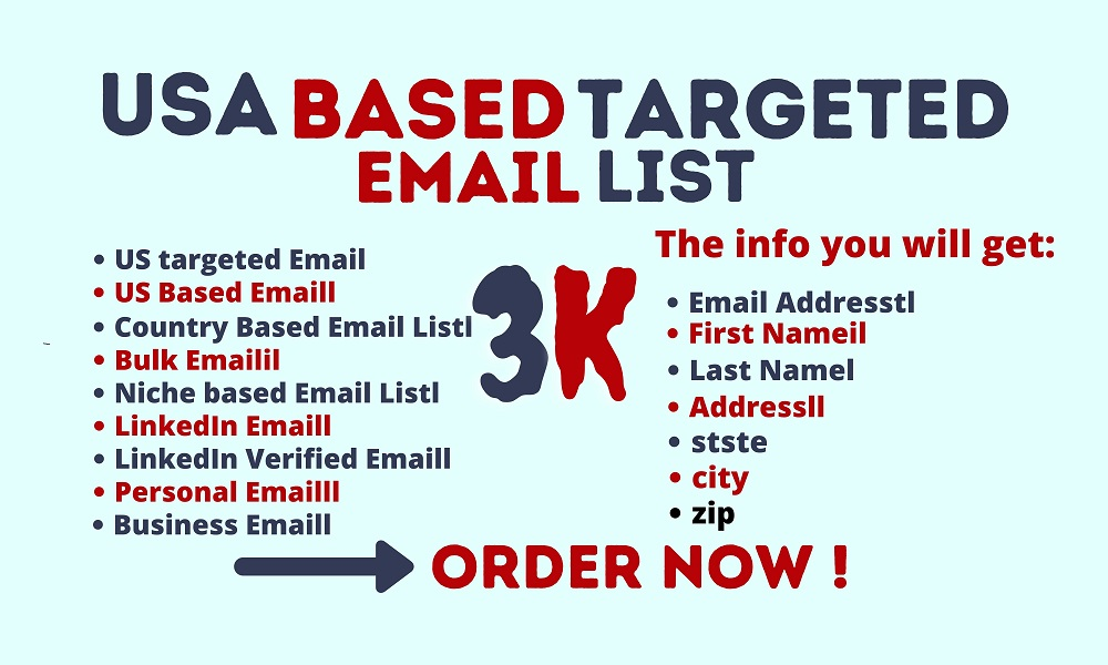 I will provide 3k USA based targeted Active email list for email marketing