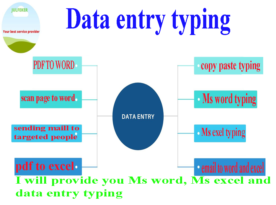 I will do data entry work,  MS Word,  MS Excel,  PDF to Word,  PDF to Excel,  Image to word