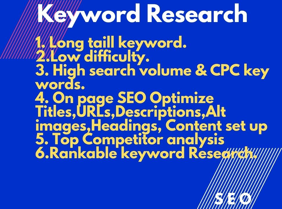 I will provide Best keyword research and on page SEO