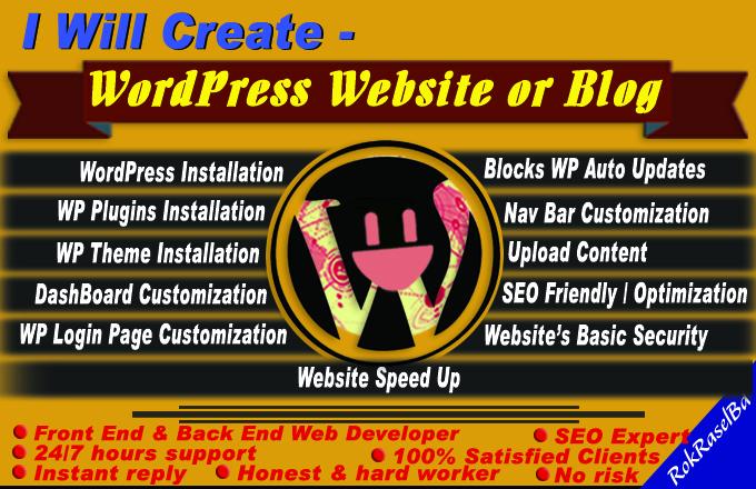 I will create WordPress Website or Blog,  Personal Portfolio,  Business