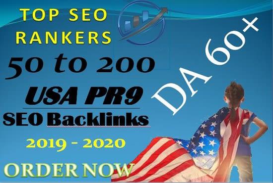 manually 50 permanent high da USA pr9 seo backlinks
