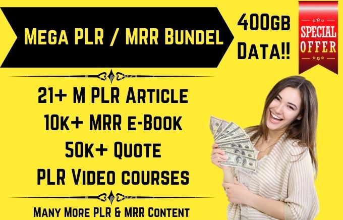 I will give you 400 gb plr article,  ebook,  high quality plr content,  much more data