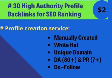 I will Do 30 High Domain Authority Dofollow SEO Profile Creation Backlinks