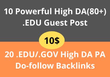 10 High DA EDU Guest Post + 20 EDU/GOV Pr9 High Authority Do-Follow Backlinks