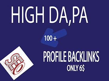 100+ High DA& PA powerful unique domains profile backlinks