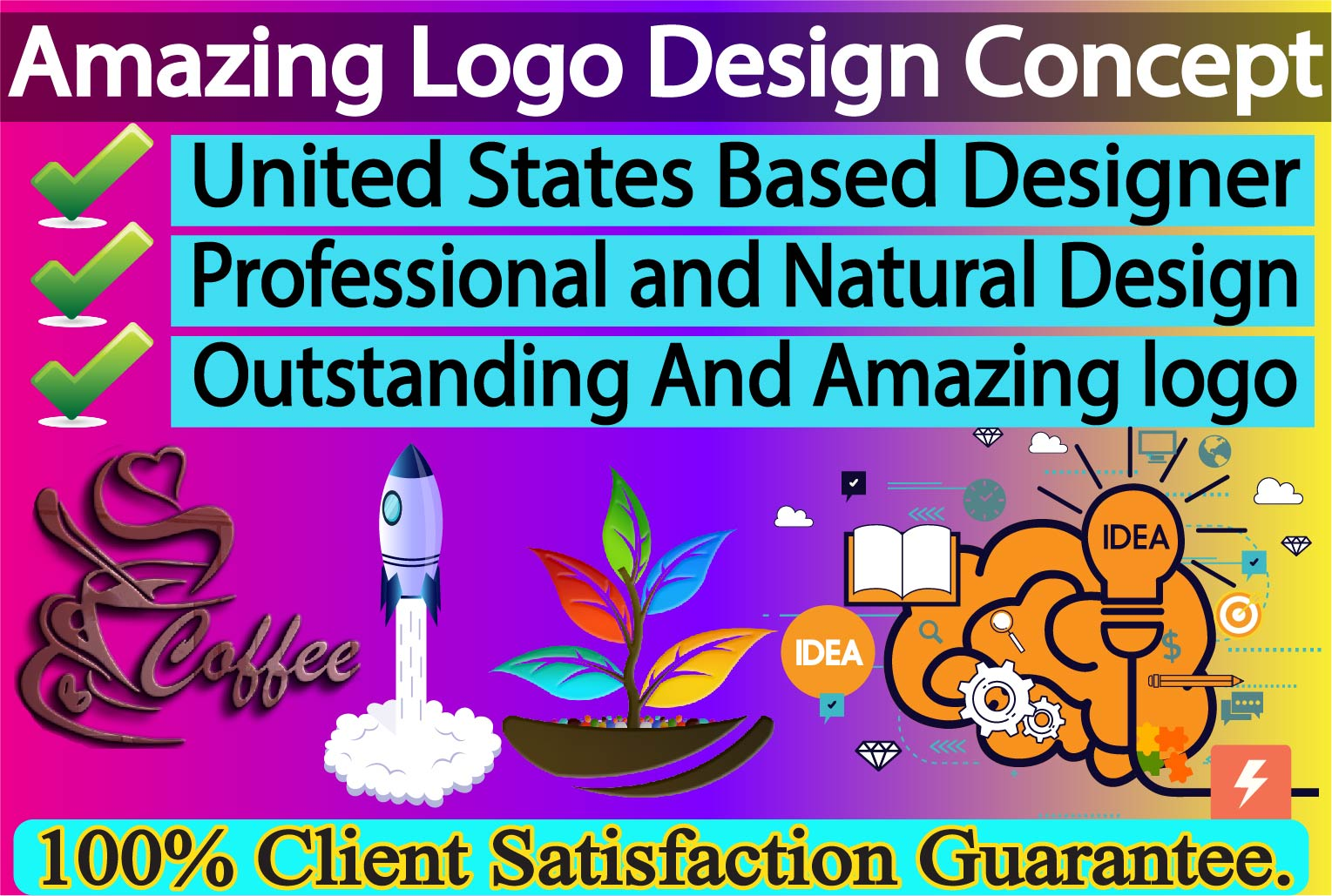 Amazing,  Outstanding,  Custom Logo Design Concept
