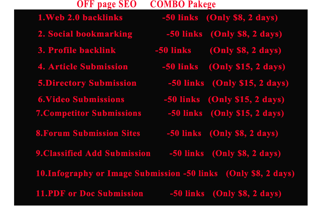 I will do high authority backlinks for off page seo