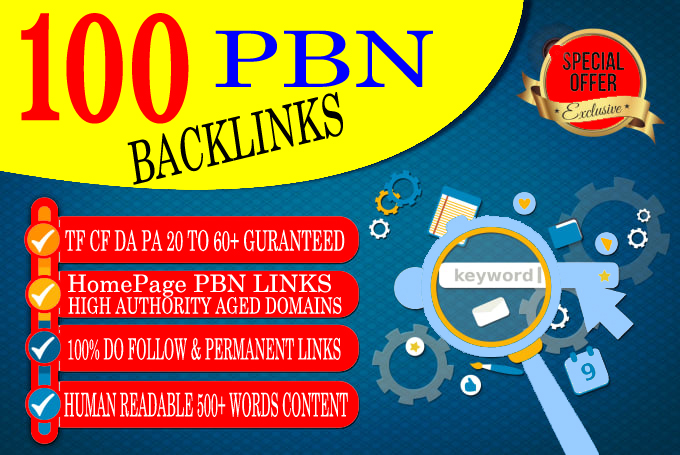 premium 100 HOMEPAGE PBN Backlinks 100 Dofollow & Permanent Links With High DA/PA/CF/TF web2.0