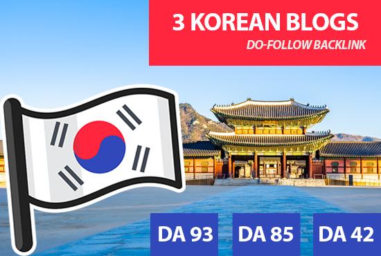 I will place backlinks in my 3 korean blogs,  korean SEO