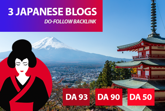 I will place 3 backlinks in my japanese travel blogs,  japanese SEO