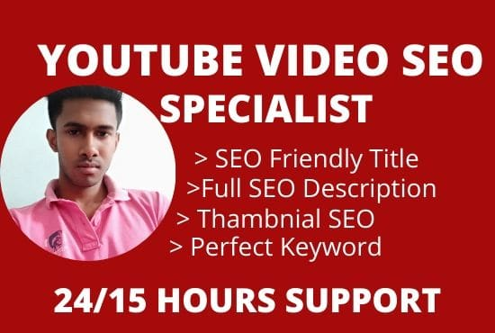I will be your youtube video SEO specialist and promotion
