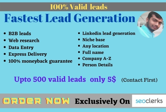 I can give you valid leads data entry of your niche guaranteed lead generation