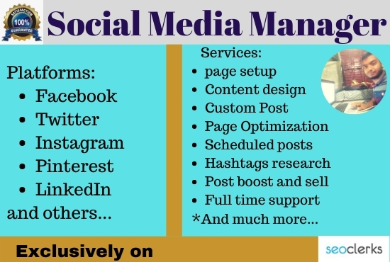 I will be your professional and expert social media manager