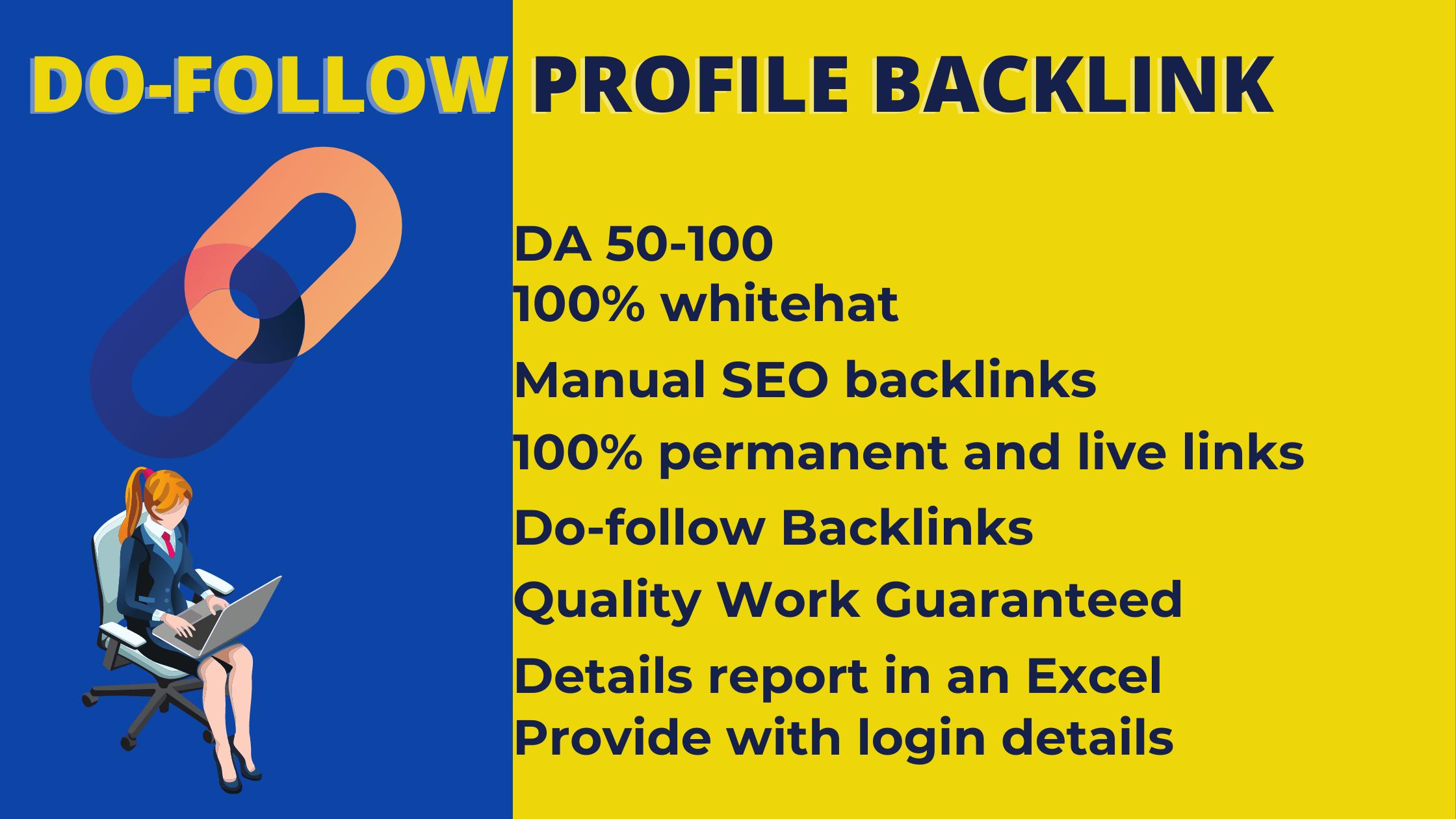 I will provide 50 Profile Backlinks Manually on High DA Website