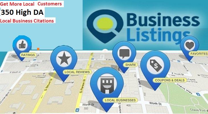 I will do 350 local citation,  google business listing,  maps listing