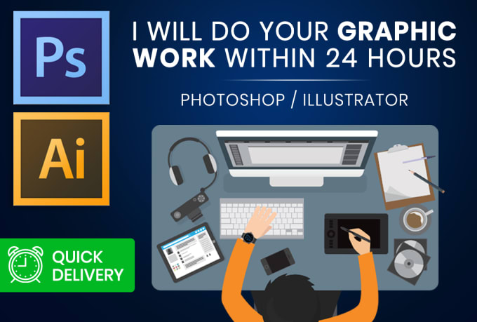 I will deliver your professional photoshop,  illustrator work or editing in just 1 day with speed qua