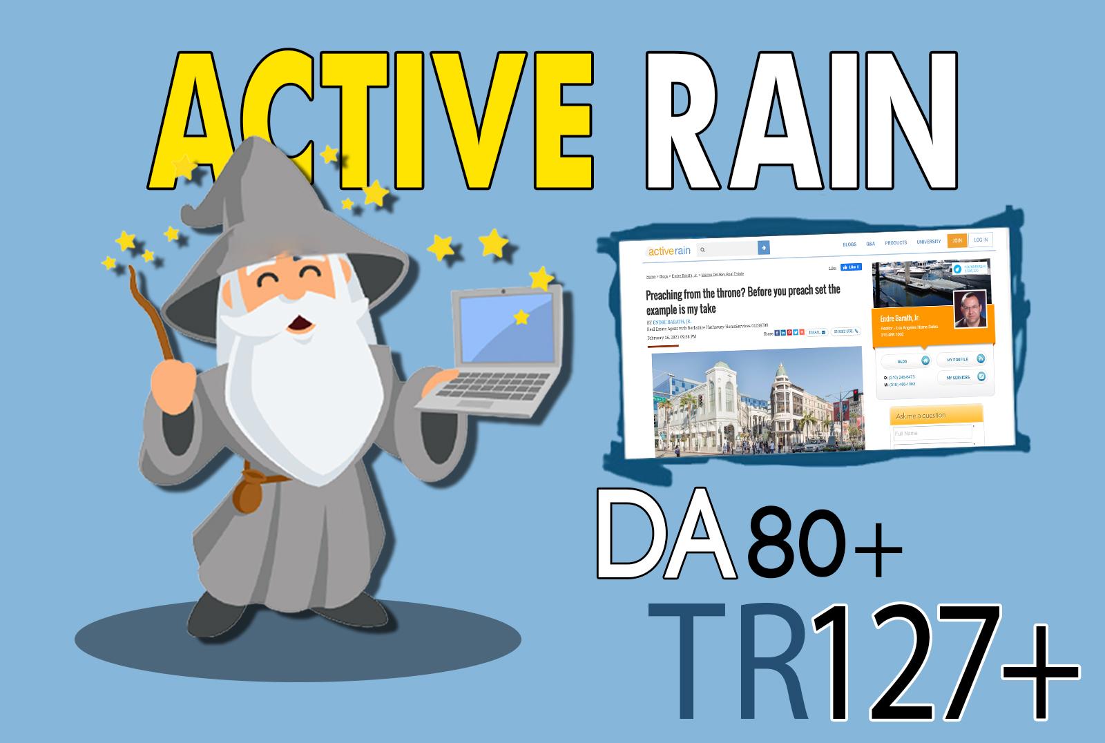 I will publish high quality guest post on activerain da 68