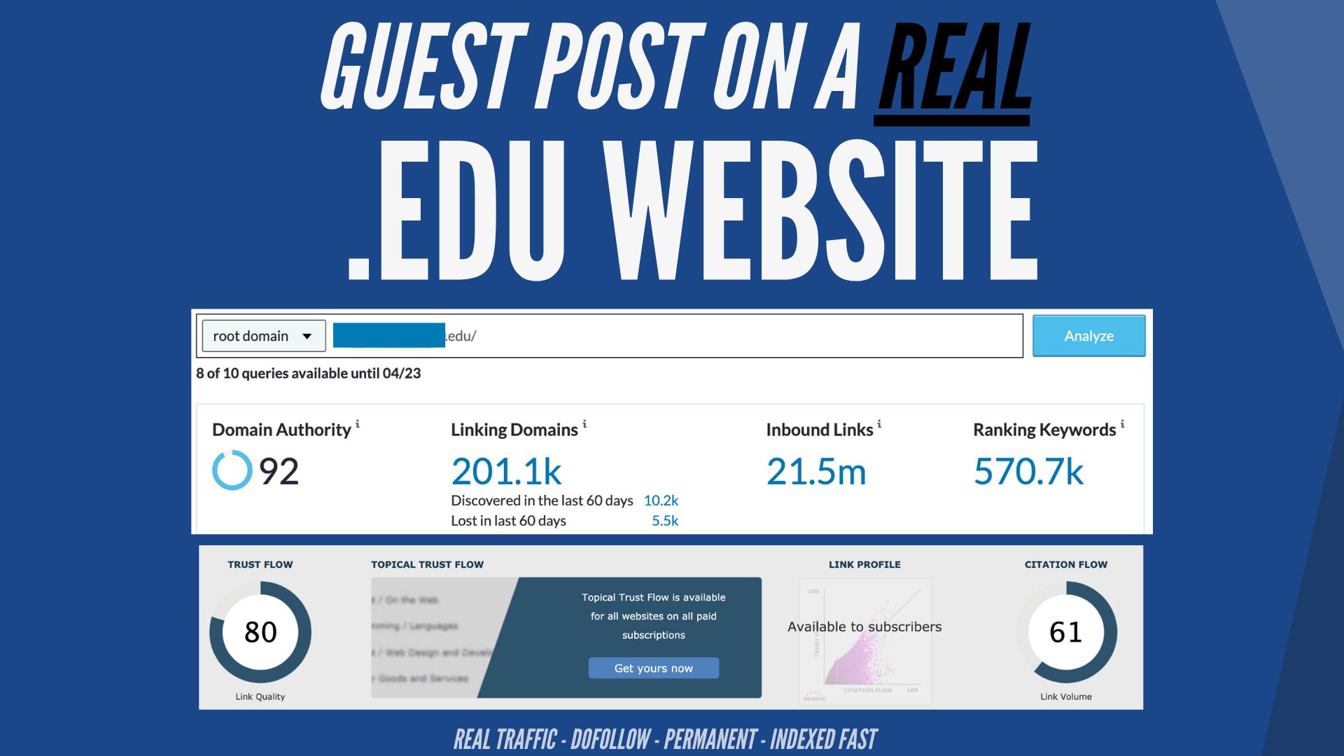 20 EDU Guest Post Sites Available