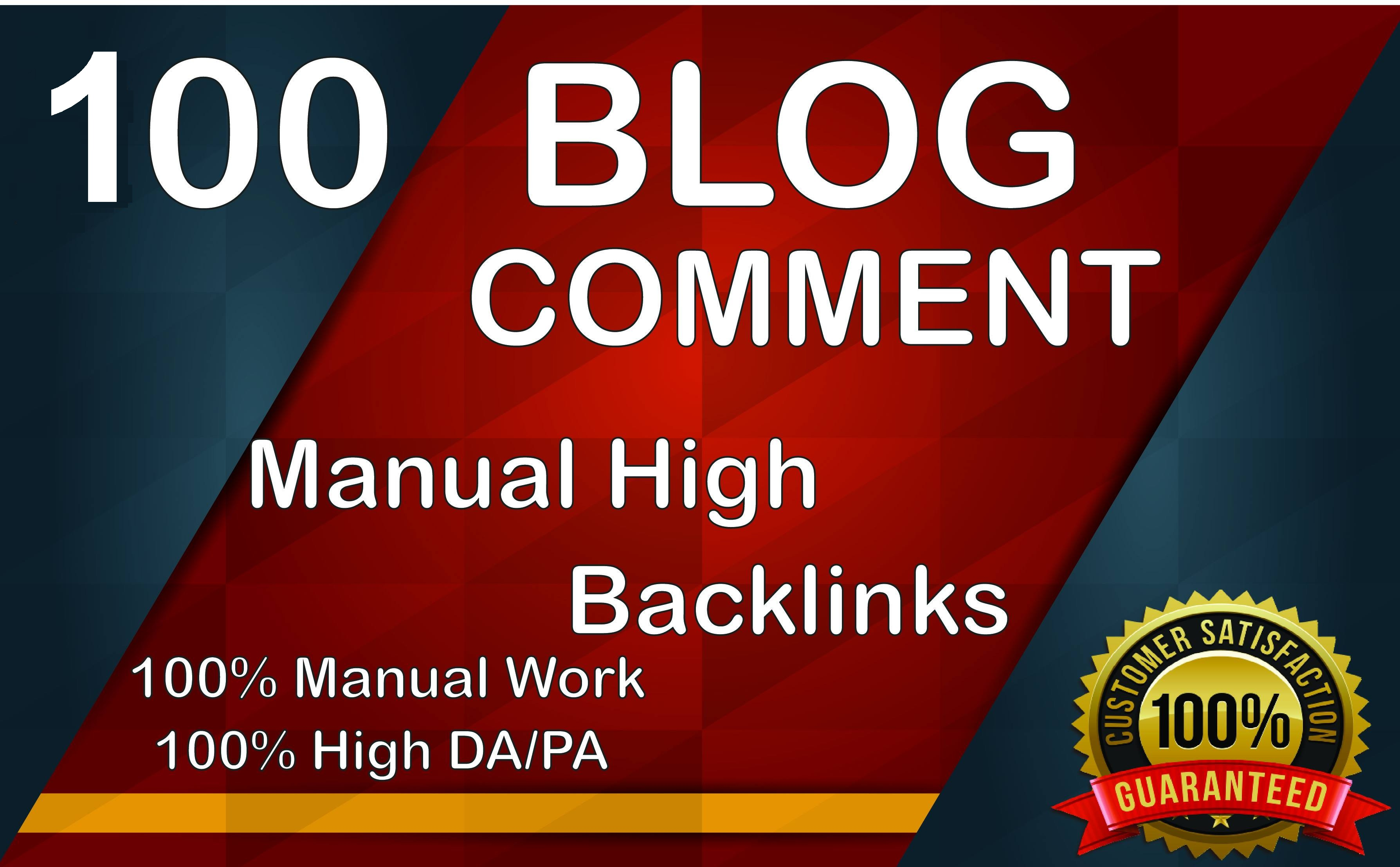 Provide you 100 Blog Comments Backlinks from high quality Blogs