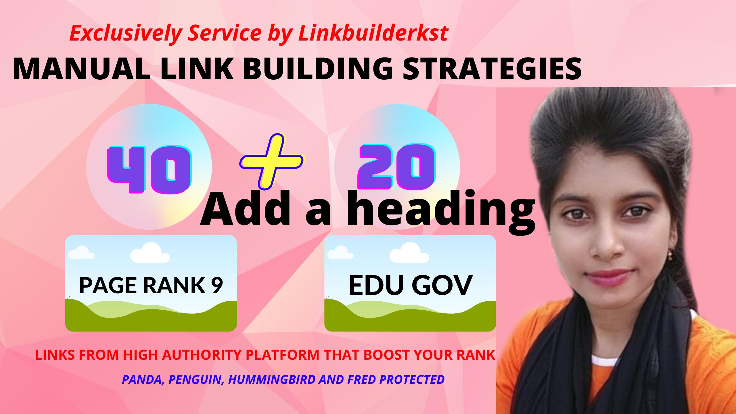 I will create manually do 40 PR9 + 20 EDU/GOV Safe SEO High Pr Backlinks