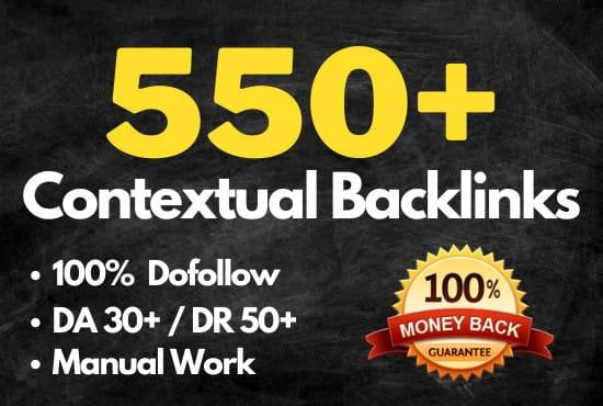 I will 550 contextual seo dofollow backlinks service