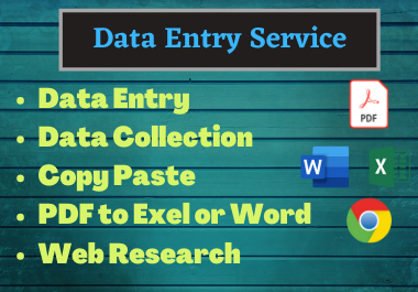 I will do data entry, data scraping, copy paste jobs, typing work