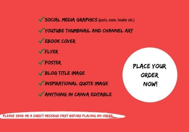 I will design social media posts,  graphics,  thumbnail,  ebook cover,  flyer and anything in canva