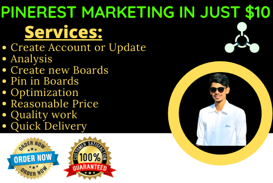 setup,  optimize and do Pinterest marketing,  create 10 boards and 20 pins each. 200 pins in 10 boards