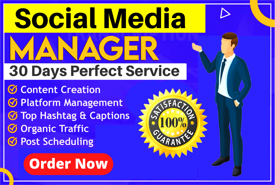 Be Your Professional & Expert Social Media Marketing manager With High Quality Content Creator