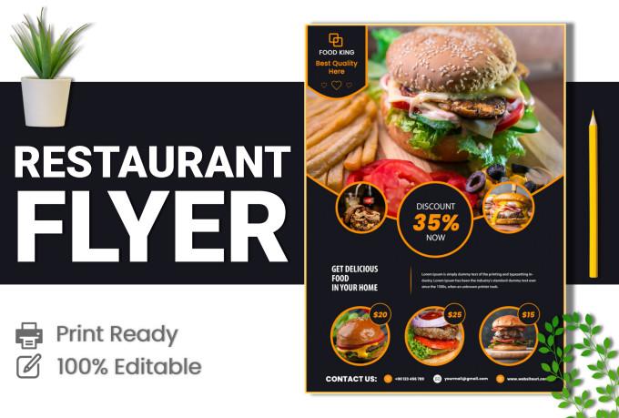 design a one page restaurant flyer