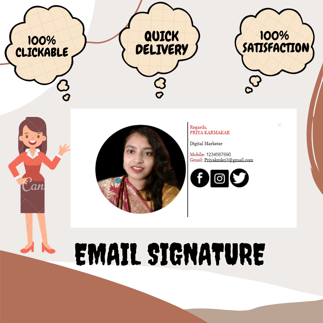 I will Create a Professional and Personal Clickable Email Signature For You