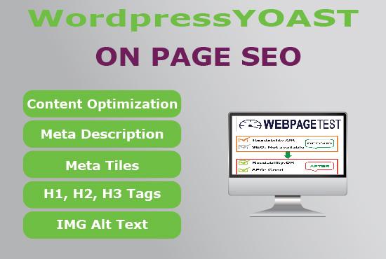 I will do On page SEO using Yoast SEO plugin