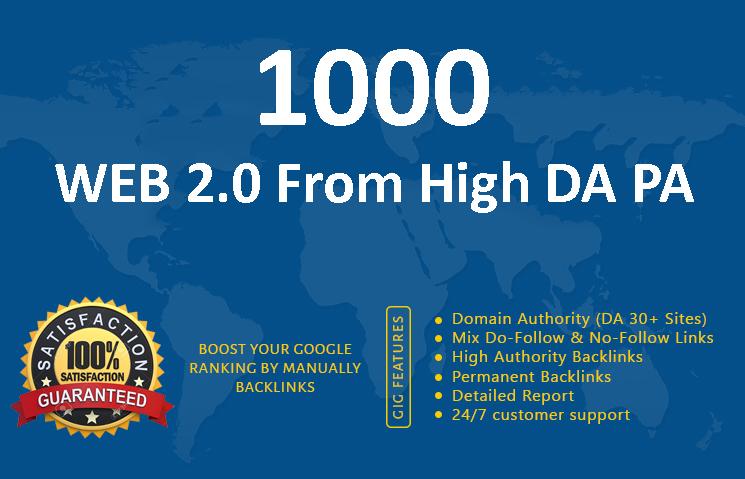 1000 Web 2.0 Backlinks from high DA PA for google ranking