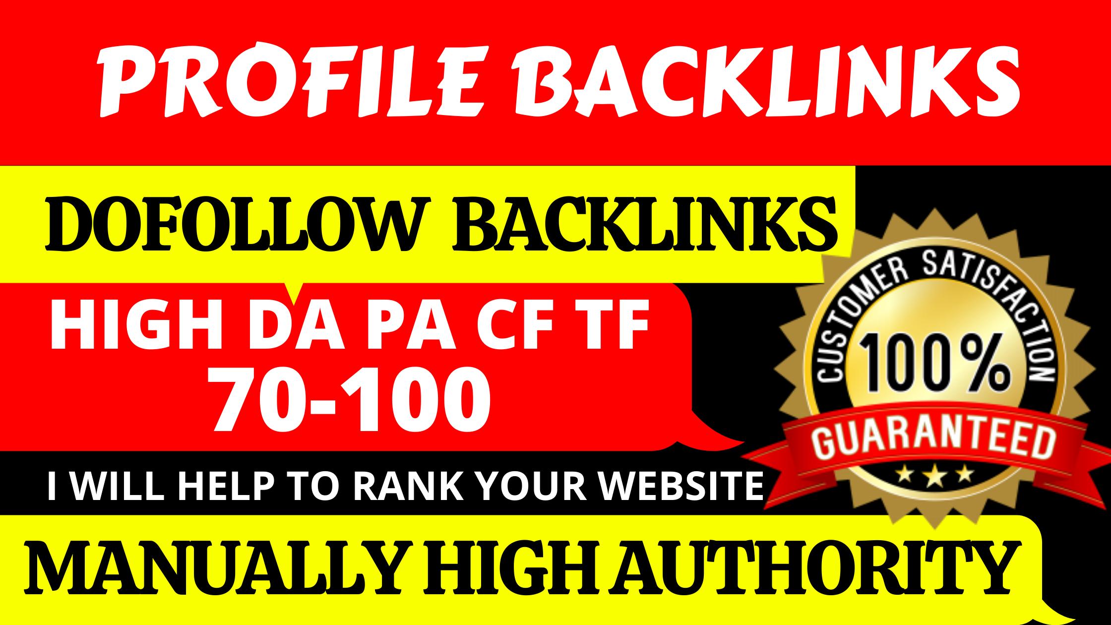i will do 30+ manually high PR Dofollow profile backlinks