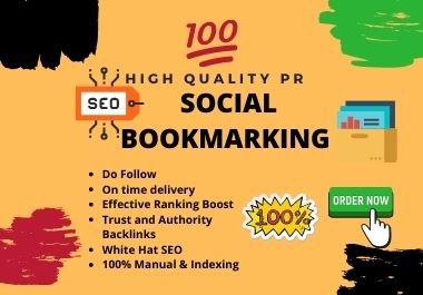 100 Dofollow social bookmarking on 50 to 98 DA sites for google rank