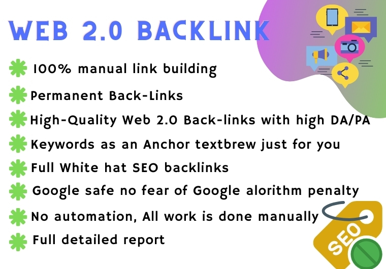 I will built 50 high authority WEB 2.0 backlinks for your site