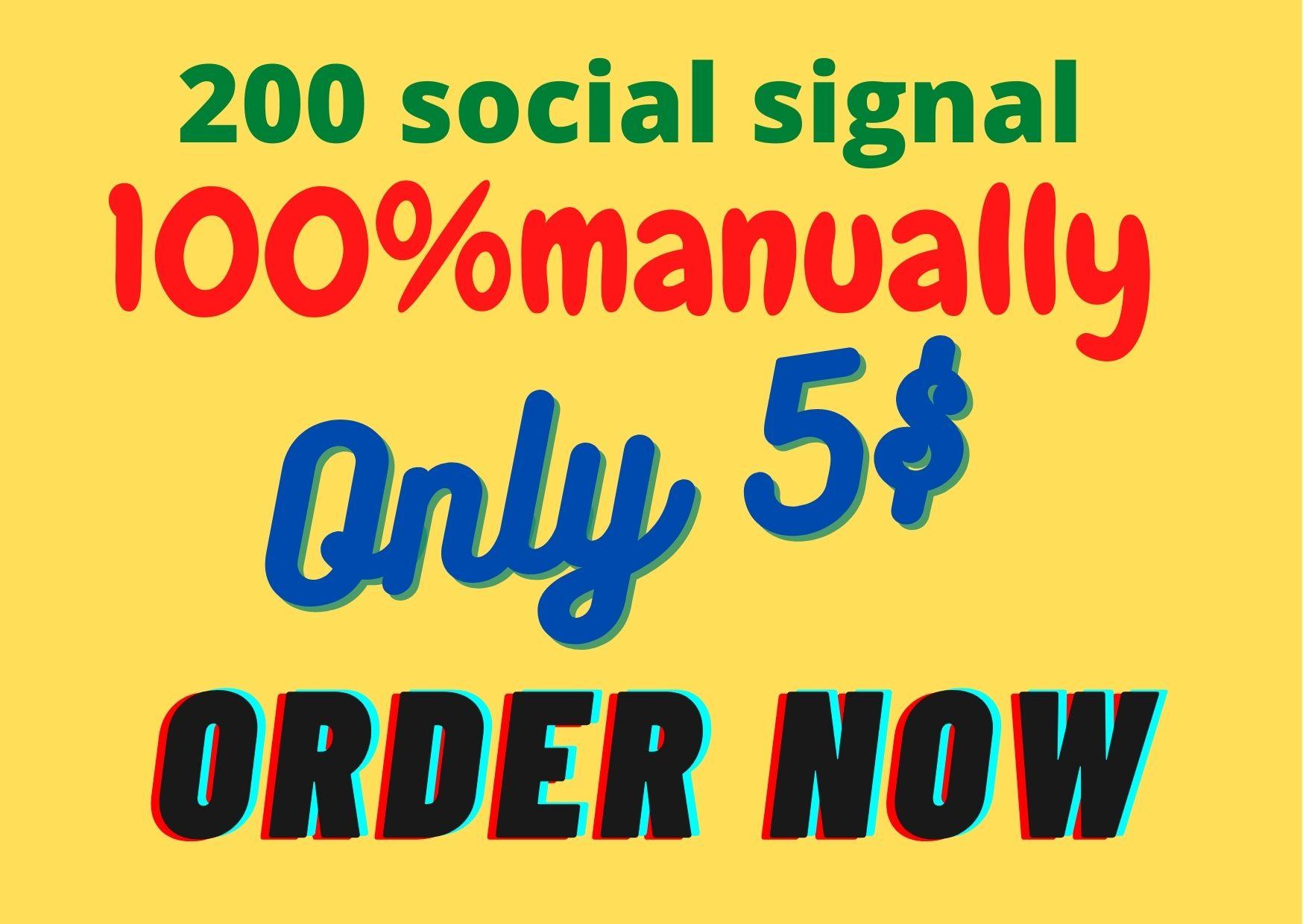 I will do 200 social signals on facebook, twitter, pinta rest, LinkedIn, tumblr, Instagram manually