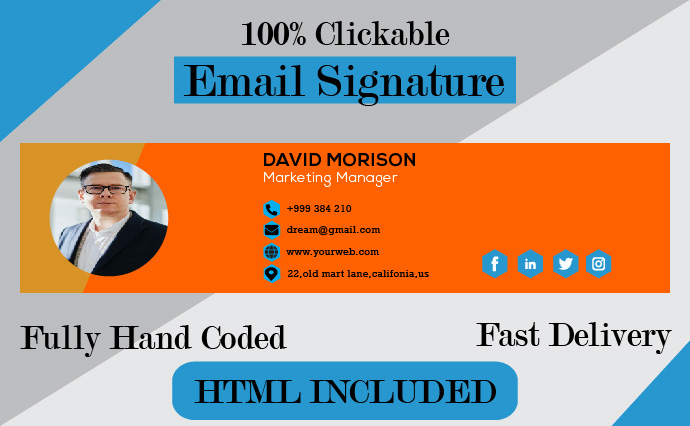 Create and Revemp Professional Clickable HTML Email Signature