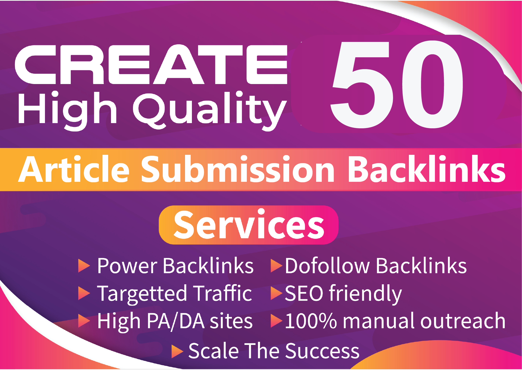 I will provide 50 Article Submission backlinks