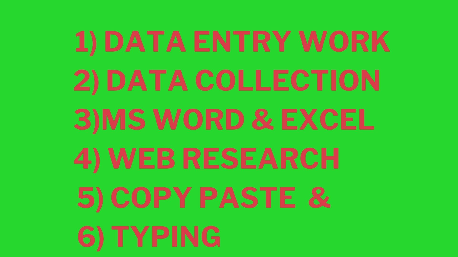 I will do any kind of online/offline data entry and all kind of typing