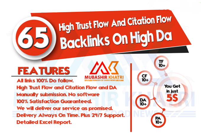 I will create 65 high trust flow and citation flow backlinks for you on high DA