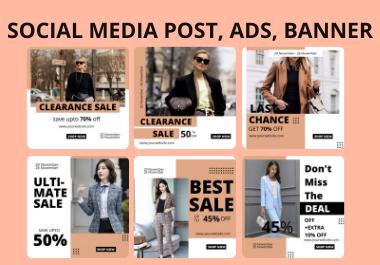 I will design facebook post,  Instagram post,  ads,  banner using canva