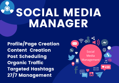I will be social media manager for Facebook,  Instagram and content creator