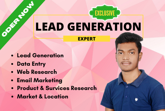 I will be your Virtual Assistant for your Lead Generation,  Data Entry,  Web Research Etc.
