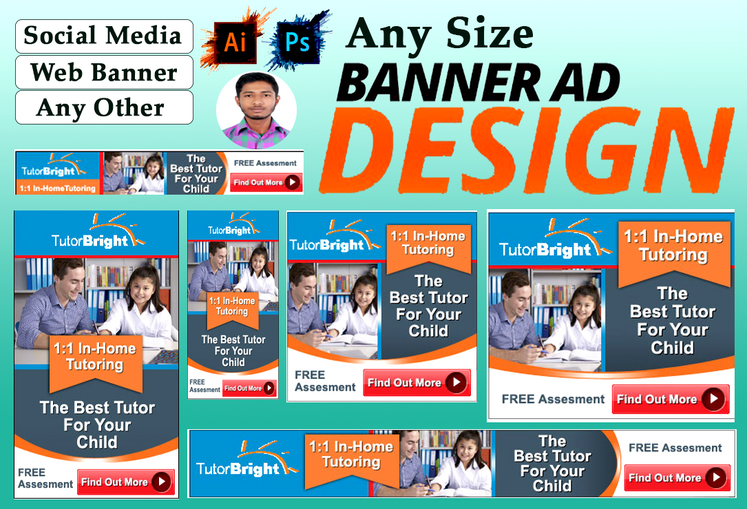 I will do banner ads design for google,web,social media and other