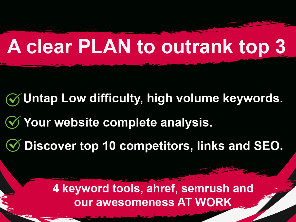 I will do deep keyword research and competitors analysis a plan to outrank top 3
